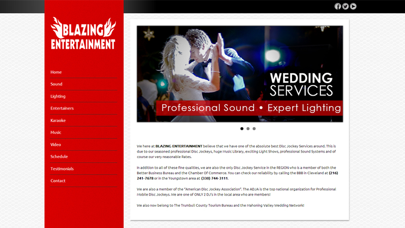 <strong>Blazing Entertainment Website Redesign</strong><p>This website is a redesign for local DJ Derrick Wray who was unhappy with the look of his old site. The design and coding were done as a freelance project by the founders of Jet Creative Productions.